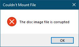 Thông báo lỗi Couldn't Mount File, The disc image file is corrupted
