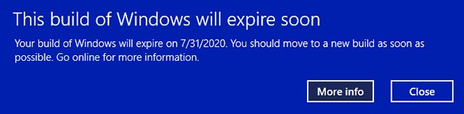 "Lỗi ""This build of Windows 10 will expire soon"""
