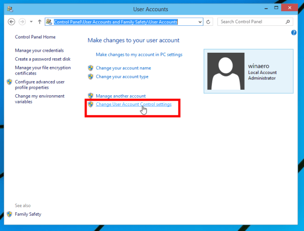 Chọn link Change User Account Control settings