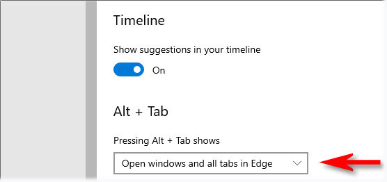 """Chọn """"Open windows and all tabs in Edge"""""""